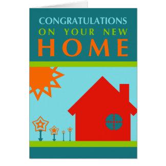 enhorabuena en su nuevo hogar (formas del crayola) tarjeta de felicitación