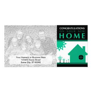 enhorabuena en su nuevo hogar (formas verdes) tarjetas fotograficas