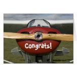 Enhorabuena en su primer piloto del vuelo a solas tarjeta de felicitación