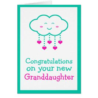 Enhorabuena en su tarjeta de la nieta