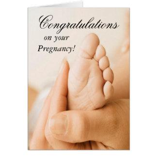 Enhorabuena en su tarjeta del embarazo