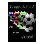 Enhorabuena en su tarjeta del fútbol del éxito
