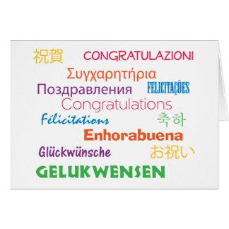 Enhorabuena en tarjeta de muchas idiomas