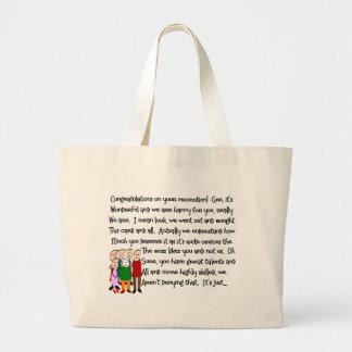 Enhorabuena en tarjetas y regalos de la promoción bolsa tela grande