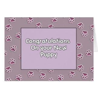 Enhorabuena en usted nuevo perrito tarjeta de felicitación