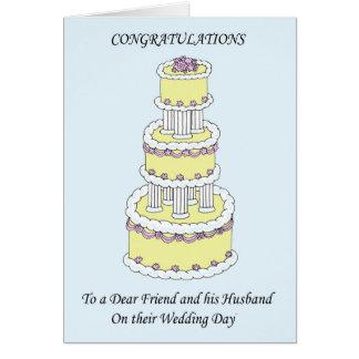Enhorabuena estimado amigo y marido en el boda tarjeta de felicitación