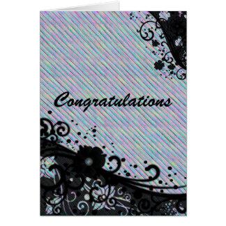 Enhorabuena floral de la voluta y de la textura tarjeta de felicitación
