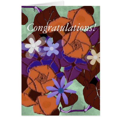 Enhorabuena floral del vintage tarjetón