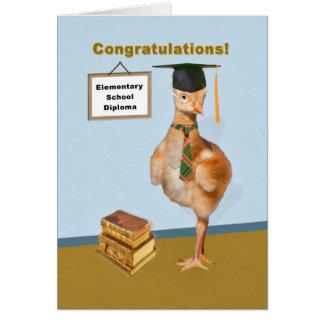 Enhorabuena, graduación de la escuela primaria tarjeta de felicitación