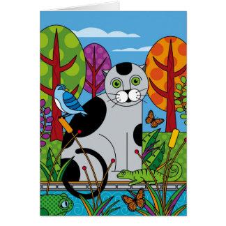 Enhorabuena gris del gato y de los amigos tarjeta de felicitación