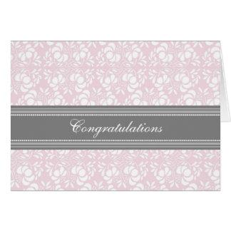 Enhorabuena gris rosada del damasco en la espera tarjeta