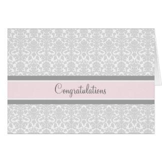 Enhorabuena gris rosada del damasco en la espera tarjetón