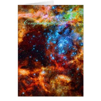 Enhorabuena - grupo estelar, nebulosa del tarjeta de felicitación