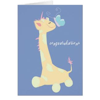 Enhorabuena (jirafa/mariposa del bebé) felicitacion