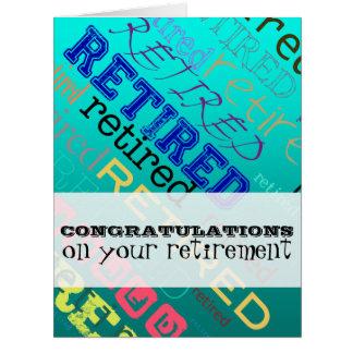 Enhorabuena jubilada en tarjeta grande del retiro