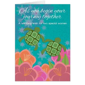 Enhorabuena lesbiana del boda de las tortugas de tarjeta de felicitación