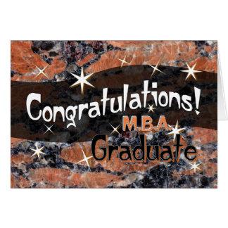 Enhorabuena M.B.A. Graduate Orange y negro Tarjeta De Felicitación