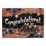 Enhorabuena M.E. Graduate Orange y negro Tarjeta De Felicitación