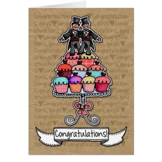Enhorabuena - magdalenas gay de los pares del boda tarjeta