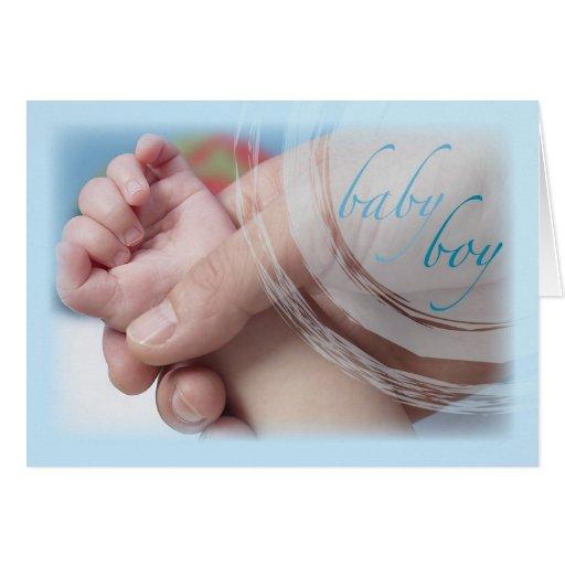 Enhorabuena, manos y dedos dulces del bebé tarjeta de felicitación