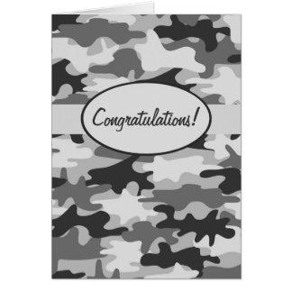 Enhorabuena negra gris del camuflaje de Camo de Tarjeta De Felicitación