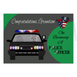 Enhorabuena, nieto, oficial de policía tarjetas
