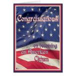 Enhorabuena-Nuevo ciudadano americano+Bandera Tarjeton