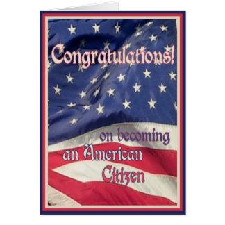 Enhorabuena-Nuevo ciudadano americano+Bandera Tarjeta De Felicitación