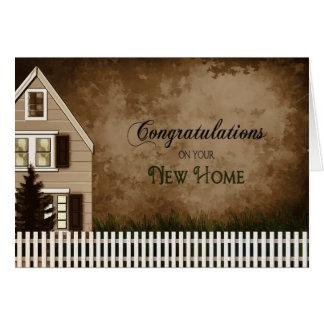 Enhorabuena - nuevo hogar - tonos de Brown Tarjeta De Felicitación