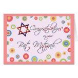 Enhorabuena/palo Mitzvah-Colorido y diversión Felicitacion
