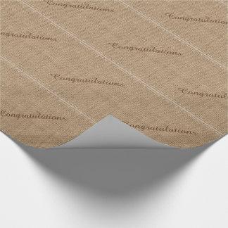 Enhorabuena, papel de embalaje rústico de la papel de regalo