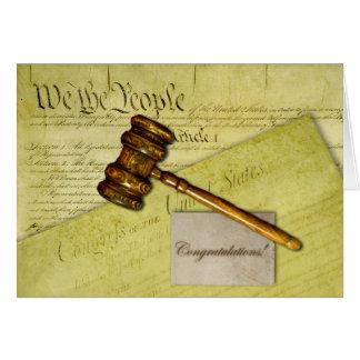Enhorabuena para el abogado, el juez, o el abogado tarjeta de felicitación