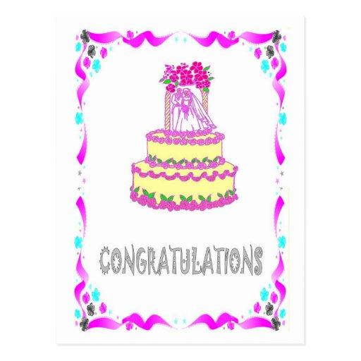 Enhorabuena - pastel de bodas postales