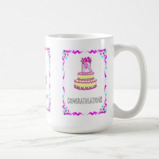Enhorabuena, pastel de bodas taza básica blanca