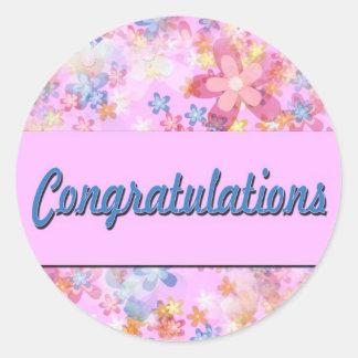 Enhorabuena Pegatina Redonda