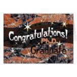Enhorabuena Ph.D. Graduate Orange y negro Tarjeton