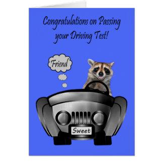 Enhorabuena, prueba de conducción, amigo tarjeta de felicitación