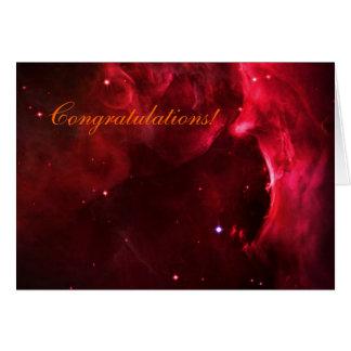 Enhorabuena, región esculpida de nebulosa de Orión Tarjeta De Felicitación