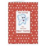 Enhorabuena roja de los lunares del primer diente  felicitación