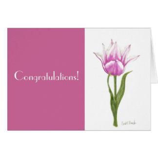 Enhorabuena rosada del tulipán tarjeta de felicitación