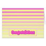 Enhorabuena rosada horizontal de la raya de la pen tarjeta