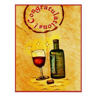 ¡Enhorabuena! tarjeta del vino Tarjetas Postales