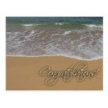 Enhorabuena temática de la playa postal