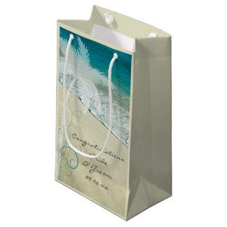 Enhorabuena tropical del boda de playa bolsa de regalo pequeña