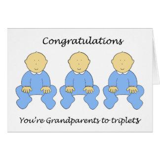 Enhorabuena usted es abuelos al muchacho del trío tarjeta de felicitación