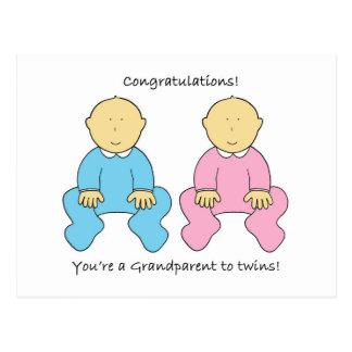 Enhorabuena, usted es un abuelo a los gemelos tarjetas postales