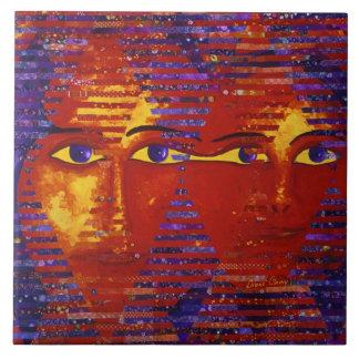 Enigma III - Diosa púrpura y anaranjada abstracta Azulejo Cuadrado Grande