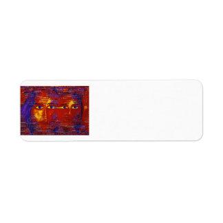 Enigma III - Diosa púrpura y anaranjada abstracta Etiqueta De Remitente