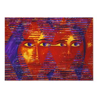 """Enigma III - Diosa púrpura y anaranjada abstracta Invitación 5"""" X 7"""""""