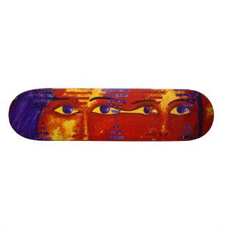 Enigma III - Diosa púrpura y anaranjada abstracta Patineta Personalizada